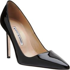 Manolo Blahnik CC - must try on immediately; the CL version hurts my feet. Fab Shoes, Dream Shoes, Me Too Shoes, Manolo Blahnik Heels, Katie Holmes, Patent Leather Pumps, Pointed Toe Pumps, Shoe Sale, Beautiful Shoes