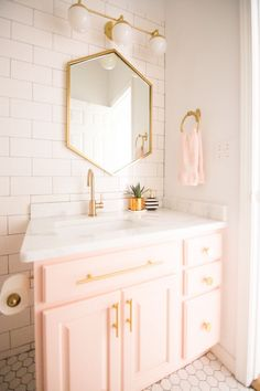 Home Decorating DIY Projects : Modern Glam Blush Girls Bathroom Design gold hexagon mirror blush cabinets gold hardware white hexagon floor glass shelves pink bathroom cabinets gold orb -Read More – Girl Bathrooms, Large Bathrooms, Bathroom Kids, Small Bathroom, Master Bathroom, Girl Bathroom Ideas, Feminine Bathroom, Modern Bathrooms, Budget Bathroom