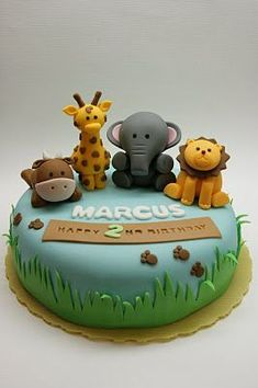 Brilliant Image of Birthday Cake Zoo - cake recipes Jungle Birthday Cakes, Animal Birthday Cakes, Safari Birthday Party, Birthday Cupcakes, Jungle Cake, 2nd Birthday Cake Boy, Birthday Animals, Jungle Party, Toddler Birthday Pictures
