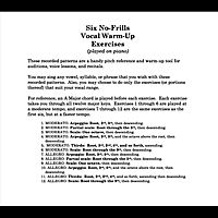 These patterns (played on piano only -- no annoying narrators ) are a handy pitch reference and warm-up tool for auditions, voice lessons, and recitals.       You may sing any vowel, syllable, or phrase that you wish with these recorded patterns. Also, you may choose to do only the exercises (or portions thereof) that suit your vocal range.       For reference, an A Major chord is played before each exercise. Each exercise takes you through all twelve major keys.