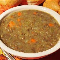 Lentil Soup I http://allrecipes.com/recipe/lentil-soup-i/