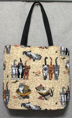 Beach Cats Quilted Tote Bag  16 x 14 by SistersToo on Etsy, $20.00