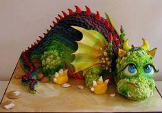 amazing little dragon cake Crazy Cakes, Fancy Cakes, Cute Cakes, Dino Cake, Dinosaur Cake, 3d Cakes, Cupcake Cakes, Amazing Cakes, Beautiful Cakes