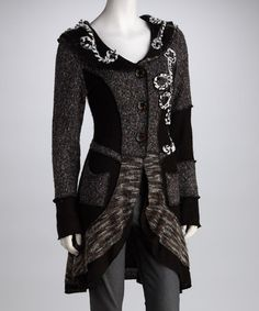 Take a look at this Black & Gray Swirl Sweater Coat by Fantazia on #zulily today!