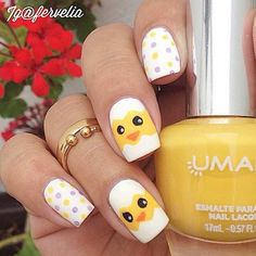 10 Easy and Simple Easter Nail Art Designs: #8. CUTE EASTER CHICK NAILS