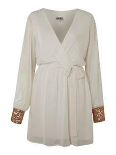 Wrap dress with sequin cuffs