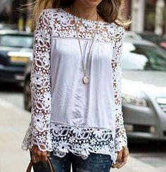 Fashion Lace Long-Sleeved Shirt