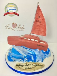 Sailing boat by Love2bake- Sept 2020 Cake Business, Cake Makers, Sailing Boat, Novelty Cakes, Homemade Cakes, Business Supplies, Plymouth, Birthday Cake, Baking