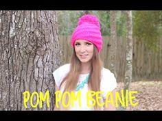 KNITTING TUTORIAL-EASY POM POM BEANIE - YouTube