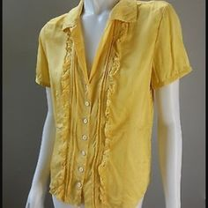 Banana Republic Silk Yellow Blouse Nice bright rich yellow silk button up blouse. Short selves with ruffles. Excellent condition. Small measures 16 inches across chest. Banana Republic Tops Blouses
