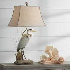 Arapuni Natural Heron Bird Table Lamp is a quality Novelty Lamps for your home decor ideas. Tripod Table Lamp, Table Lamp Wood, A Table, Novelty Lamps, Novelty Lighting, Coastal Bedrooms, Coastal Living, Tropical Table Lamps, Living Room Shelves