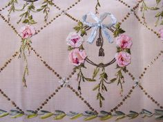 ribbon needlework   The tiny little sequins used to create the basket woven design ...