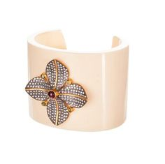 Bakelite Cuff with 22k Gold Plated Flower Motif.