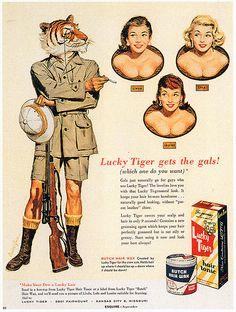 Lucky Tiger hair tonic, 1955.
