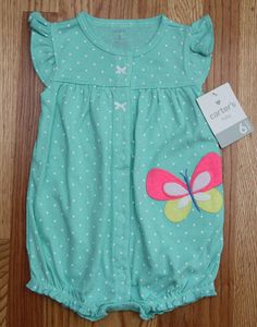 Carter's Baby Girl Romper ~ Mint Green, White, Pink & Yellow ~ 6M ~ Butterfly ~ #Carters #Romper