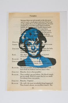 Each Golden Girl is printed over a page of one of the original script pages from the TV show. Sold individually or as a set, these one-of-a-kind portraits the ideal gift for the Golden Girls mega fan the perfect vintage pop of color for your home or office.  Dorothy played by Bea Arthur is printed on 3x 8 sheet of vintage book paper in periwinkle lilac and black ink. The print is shipped in a plastic archival sleeve protector. The text from the script and the image itself can be seen from…