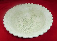Unique Vintage Creamy Green Embossed Celluloid Bowl