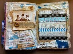 Art journal, Tim Holtz, sewing, washi tape..