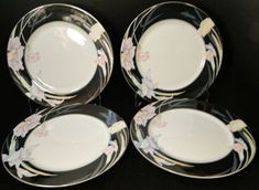 "Mikasa Charisma Black Dinner Plates 10 5/8"" L 9050 Japan Set of 4 | DR Vintage Dinnerware Replacements Black Dinner, Vintage Dinnerware, Salad Plates, Mikasa, Dinner Plates, Decorative Plates, Japan, Tableware, Modern"