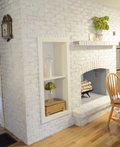 Decoration, House With Painted Brick Vintage Looking for Out of the Box Houses? Painted Brick House is the Best Answer White Wash Brick Fireplace, Painted Brick Fireplaces, Paint Fireplace, Brick Fireplace Makeover, Red Brick Walls, Fireplace Design, Fireplace Shelves, Grey Brick, Annie Sloan Chalk Paint Brick Fireplace