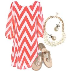 """coral & pearls"" by the-original-southern-prep on Polyvore"