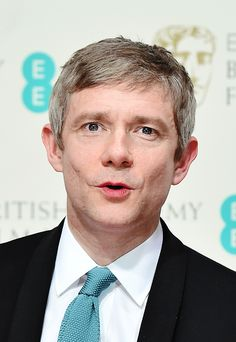 """ Martin Freeman poses in the winners' area at the BAFTA British Academy Film Awards at the Royal Opera House in London on February 8, 2015."""