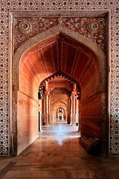 ॐ Hindu Mandir (Temple) arch corridor towards to main Hindu worship hall, Delhi, India - Hinduism ॐ 卐