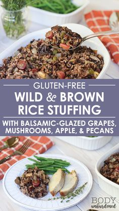 Looking for a healthy or gluten-free stuffing recipe for Thanksgiving? This wild and brown rice stuffing is delicious, gluten-free, and made with healthy, real food ingredients. Can't go wrong with balsamic-glazed grapes, mushrooms, apple, and pecan! #healthy #healthyrecipe #stuffingrecipe #glutenfree via @bodyunburdened