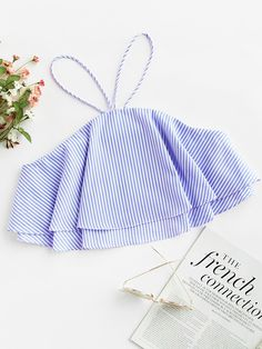 SheIn offers Contrast Striped Layered Crop Top & more to fit your fashionable needs. Source by - Teen Fashion Outfits, Outfits For Teens, Trendy Outfits, Cool Outfits, Mode Rock, Crop Tops Online, Crop Top Outfits, Cute Crop Tops, Western Outfits