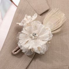 Rustic Burlap Boutonniere  #rustic #wedding #boutonniere