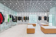 Take a Look Inside the Newly Reopened HBX Hong Kong Location: Bridging its online and offline spaces. Central Hong Kong, Retail Boutique, Visual Cue, Office Lobby, Digital Tablet, Atrium, Hypebeast, Contemporary, Home Decor