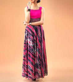 Pink Digitally Printed Georgette Dress