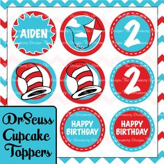 8 Dr Seuss Inspired Birthday Cupcake Toppers - Personalized With Your Child's Name - Printable PDF Digital Format. $4.00, via Etsy.