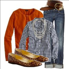 navy gingham, orange cardigan, leopard flats, jeans
