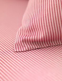 Tiny Stripe Pink Fitted Sheets and Pillowcases. Striped Bedding, Pink Bedding, Luxury Bedding Sets, Pink Bed Sheets, Fitted Sheets, Bed Linen Sets, Duvet Sets, Childrens Bed Linen, Linen Store
