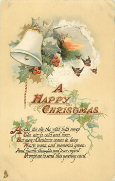 Full Sized Image: A HAPPY CHRISTMAS single bell, 4 robins, holly & ivy - TuckDB