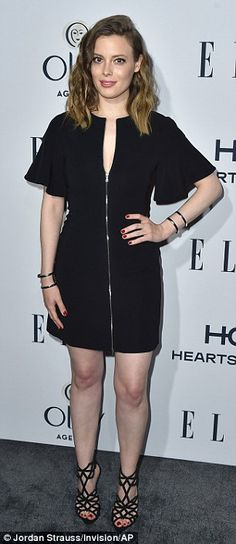 It's all about the shoes: Gillian Jacobs, 33, (left) paired a front zipped black mini dres...