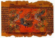 A manuscript illustration (18th c.?) of the Battle of Kurukshetra, fought between the Kauravas and the Pandavas, recorded in the Mahabharata Epic.