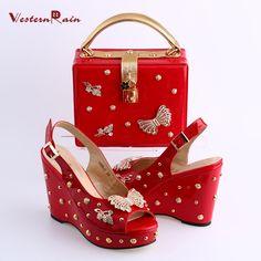 WesternRain New Fashion Rhinestones Bright Red Wedge Sandals to Match Women Dinner Party Handbag Set