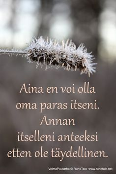 I can not always be my best self, but I forgive myself that I am not perfect. Cool Words, Wise Words, Finnish Words, Finnish Language, Good Sentences, Smart Quotes, Affirmation Cards, Truth Of Life, Life Advice