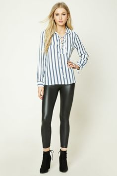 Lace-Up Striped Shirt   Forever 21 - 2000229601