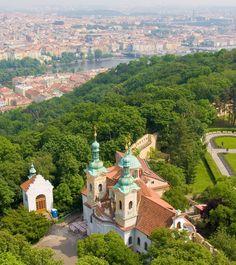 Petřín from its observation tower, Prague
