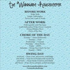 Need help getting your cleaning routine back on track. This simple daily cleaning schedule is a great way to make housekeeping quicker and more efficient. Diy Cleaning Products, Cleaning Solutions, Cleaning Hacks, Daily Cleaning, Weekly Cleaning Plan, House Cleaning Checklist, Cleaning Schedules, Cleaning Routines, Cleaning Lists