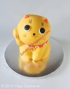 Carved 3D Maneki-neko cat cake tutorial