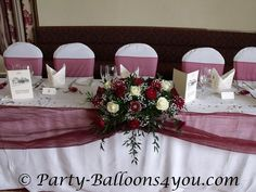 Maroon Wedding Party Table... Wedding ideas for brides, grooms, parents & planners ... https://itunes.apple.com/us/app/the-gold-wedding-planner/id498112599?ls=1=8 … plus how to organise an entire wedding ♥ The Gold Wedding Planner iPhone App ♥
