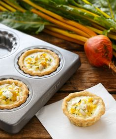 Bite-Sized Golden Beet and Goat Cheese Quiches from @Lindsay Landis | Love and Olive Oil
