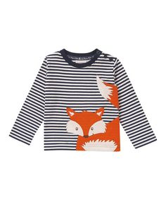 This Ecru Stripe Fox Long-Sleeve Shirt - Infant, Toddler & Boys is perfect! #zulilyfinds