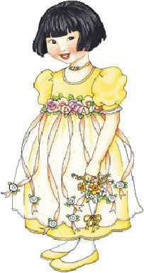 by Mary Engelbreit - her dress reminds me of the one my flower girl wore, it was made from a Daisy Kingdom pattern, with flowers at the waist and a sheer overlay on the skirt with flower petals inside it.