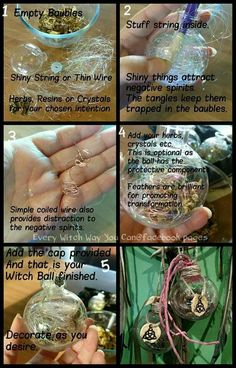 Witch ball, found on celtic witch Magic Spells, Wiccan Spells, Easy Spells, Witch Bottles, Yule Crafts, Wiccan Crafts, Hedge Witchcraft, Witch Craft, Celtic Paganism