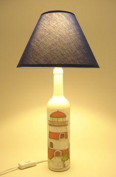 Lighthouse Bottle Lamp Upcycled Wine Bottle Table by ZiniStudios